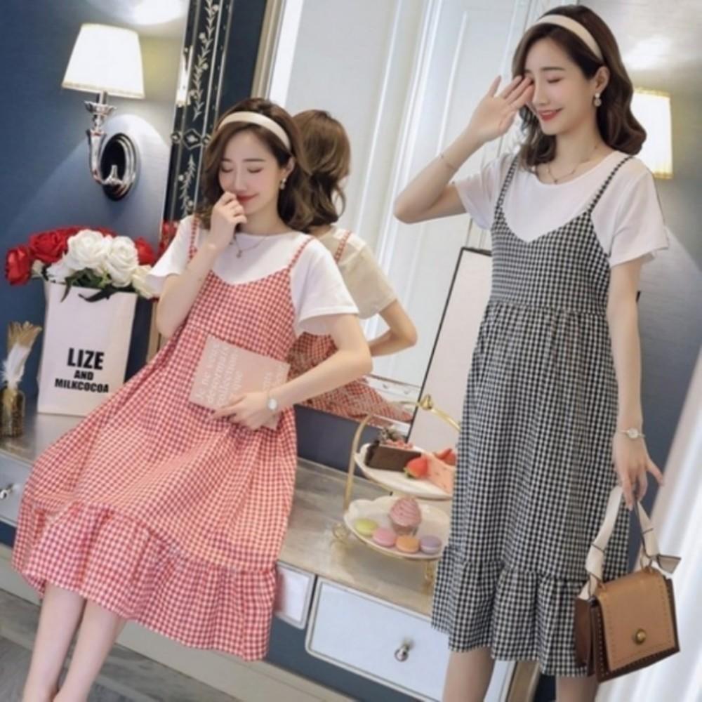 D2139-韓系假二件荷葉洋裝【D2139】 格紋 假兩件 拼接 背心裙 孕婦洋裝 孕婦裝 吊帶裙