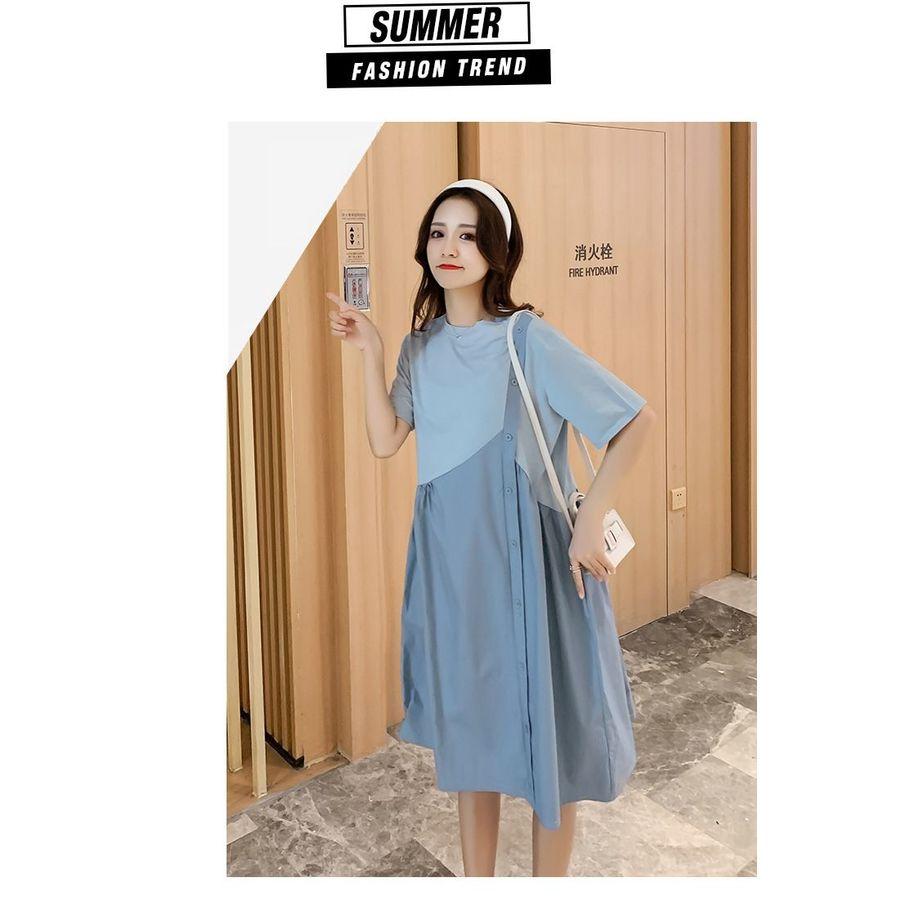 文藝 長裙 【D2146】 格紋 拼接 假兩件 背心裙 造型 長洋裝 孕婦裝