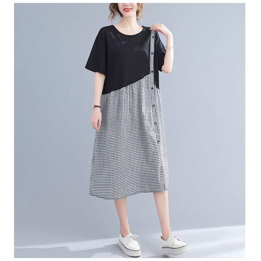 文藝 學院風長裙 【D2147】 格紋 拼接 假兩件 背心裙 造型 長洋裝 孕婦裝