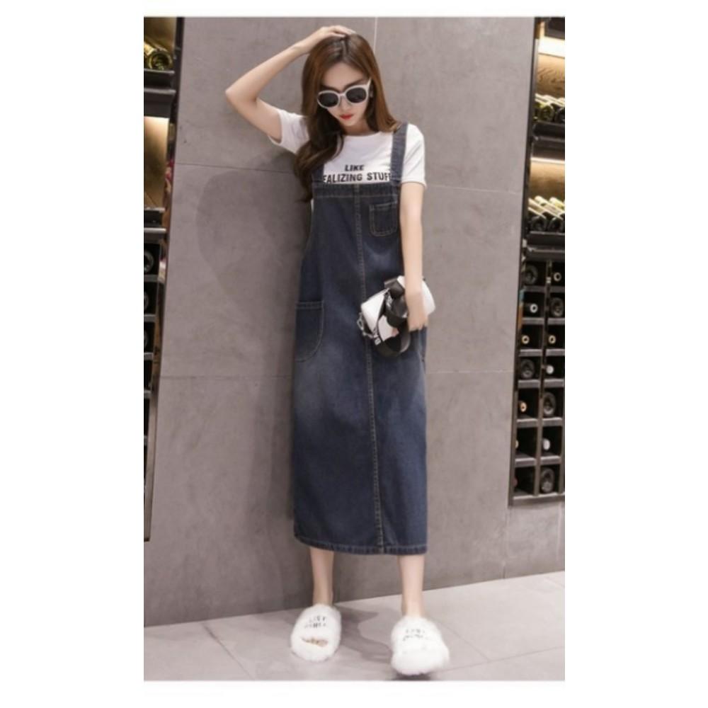 牛仔背帶裙【D2160】吊帶裙 吊帶長裙 孕婦裝