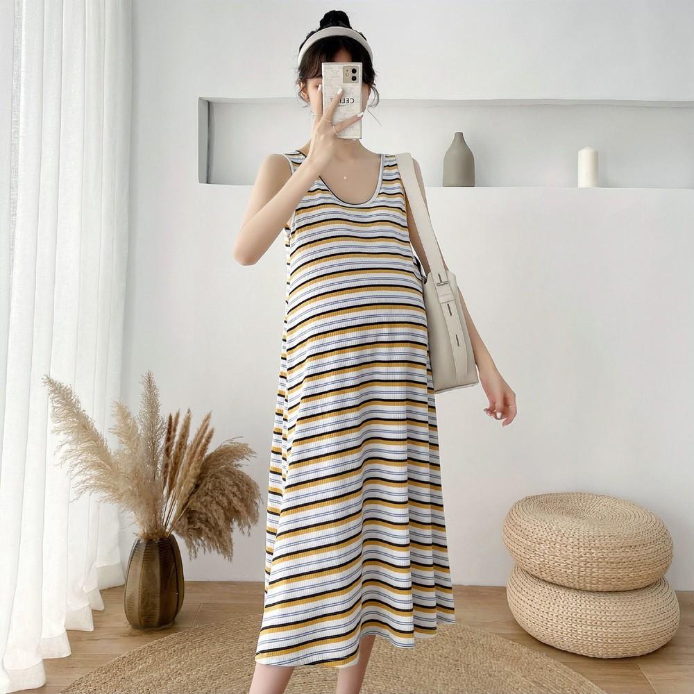 韓系 實拍 無袖 條紋 長裙【D2197】背心長裙 連身長裙 長洋裝
