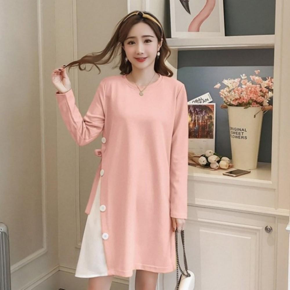 韓系 洋裝 【D2222】 修身 顯瘦 長袖 拼接 雪紡 孕婦洋裝 孕婦裝 孕婦洋裝