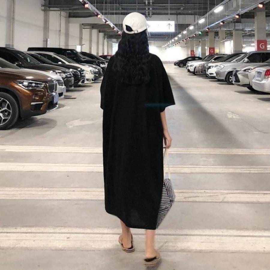 韓系 五分袖 洋裝 【D2281】純色 寬鬆 翻領 襯衫洋裝 長裙 短袖 中袖 孕婦裝