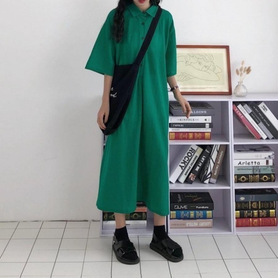 D2281-韓系 五分袖 洋裝 【D2281】純色 寬鬆 翻領 襯衫洋裝 長裙 短袖 中袖 孕婦裝