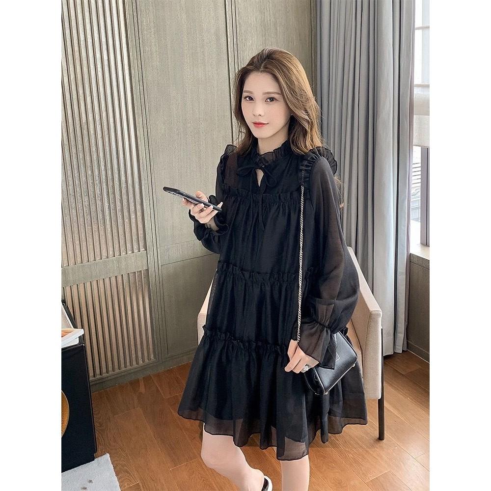 法式 浪漫 蝴蝶結 連衣裙 【D2310】繫帶 甜美 長袖 蛋糕裙 洋裝