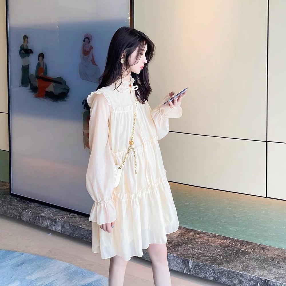 D2310-法式 浪漫 蝴蝶結 連衣裙 【D2310】繫帶 甜美 長袖 蛋糕裙 洋裝
