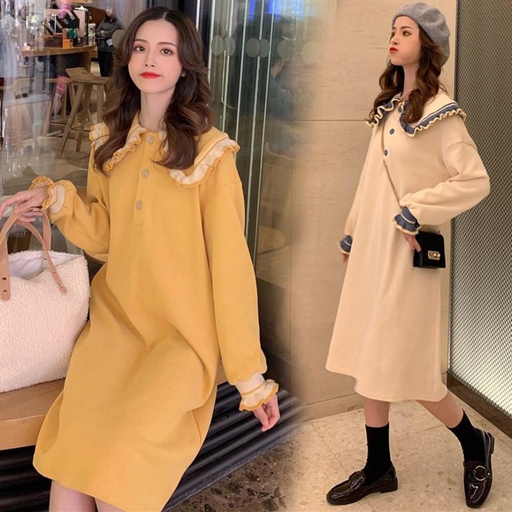 實拍 韓系 洋裝 【D2313】 娃娃領 M-XXL 寬鬆 長袖 長版T 過膝 洋裝 孕婦裝 翻領 孕婦洋裝