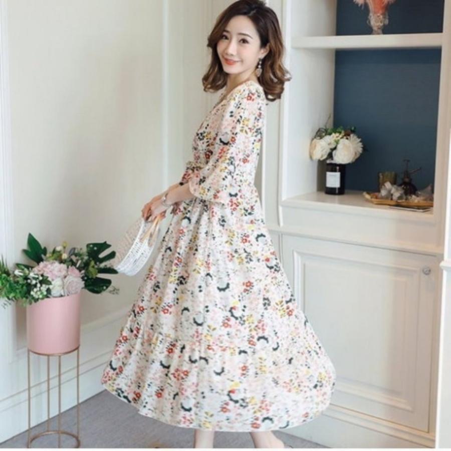 碎花 洋裝 【D2314】韓系 花語 雪紡 喇叭袖 七分袖 孕婦裝 長裙 哺乳 長洋裝