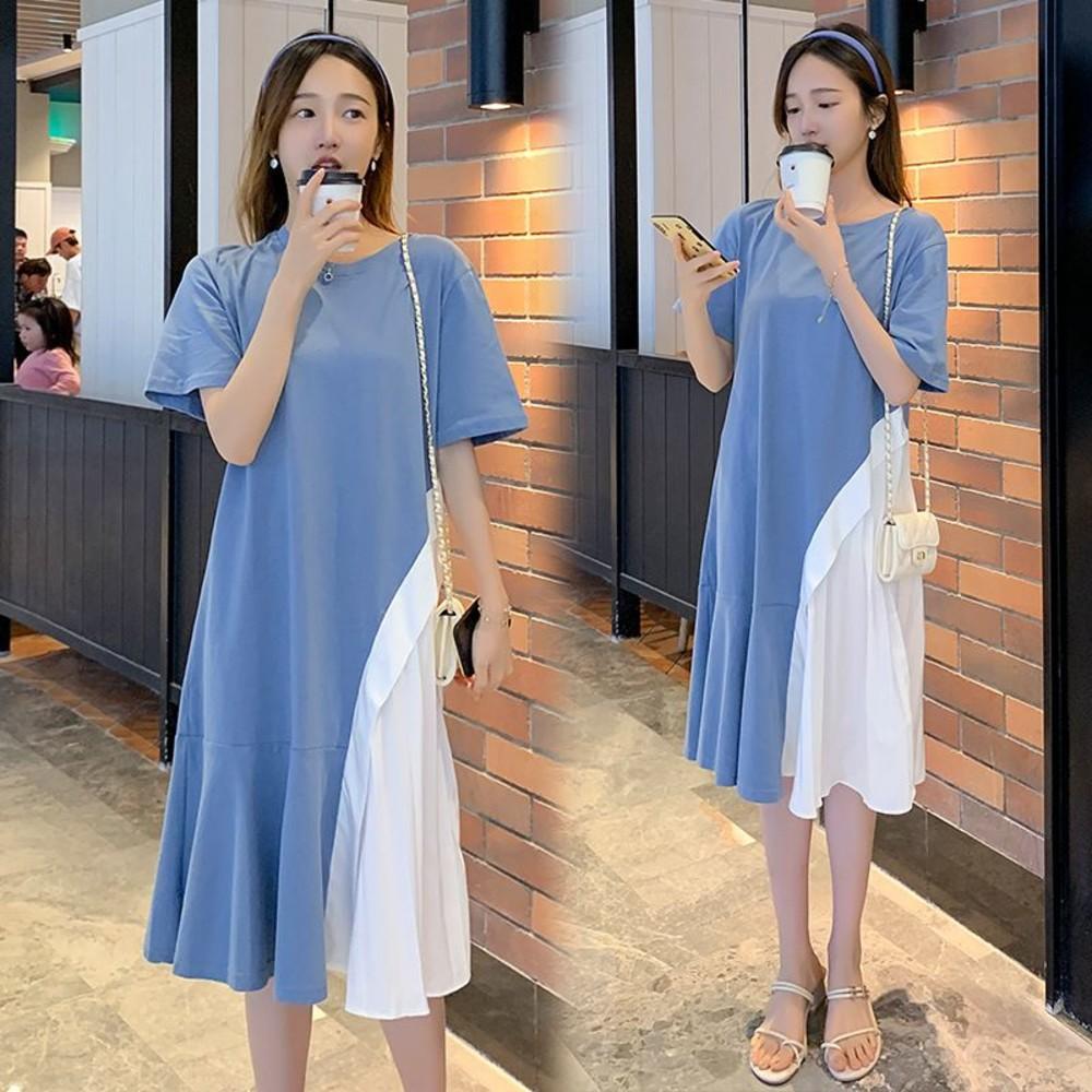 韓系 實拍 短袖 拼接 洋裝【D2365】百褶 魚尾裙 荷葉裙 魚尾洋裝