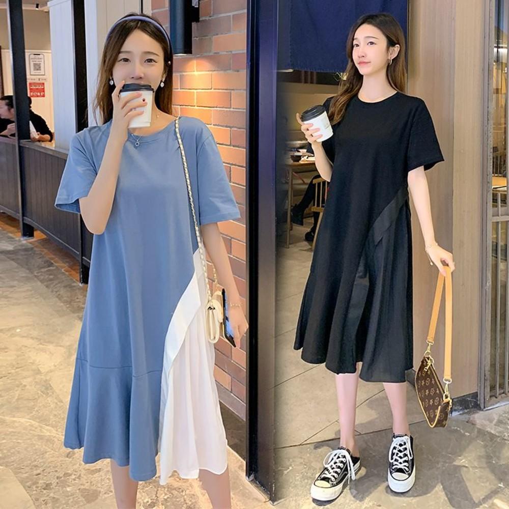 D2365-韓系 實拍 短袖 拼接 洋裝【D2365】百褶 魚尾裙 荷葉裙 魚尾洋裝