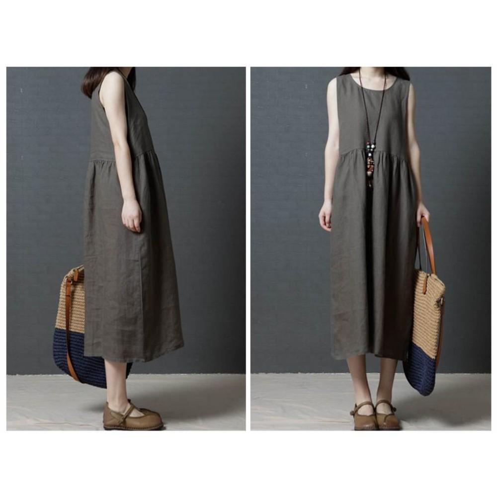 無袖洋裝 【D2387】 棉麻 文藝 純色 修身 孕婦裝 孕婦洋裝 長裙 長洋裝
