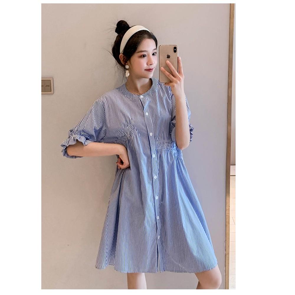韓系 實拍 條紋 傘狀【D2650】寬鬆 洋裝 連衣裙 襯衫洋裝