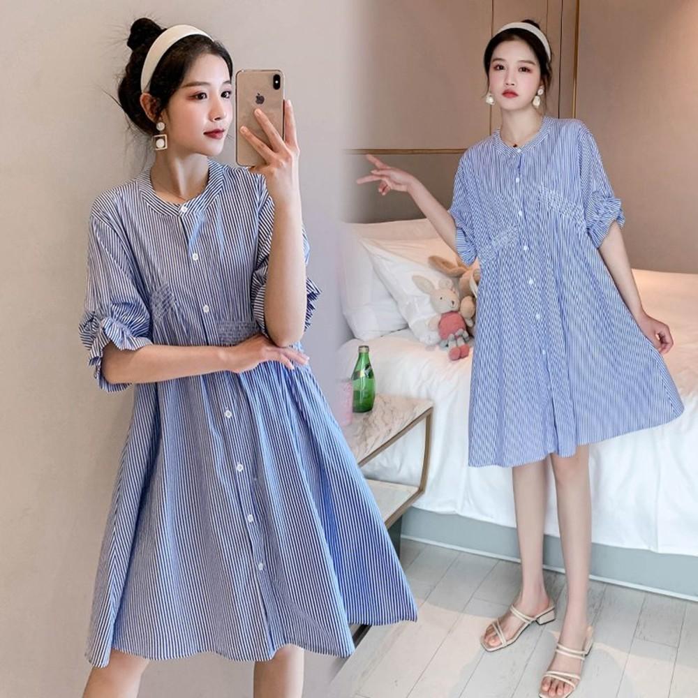 D2650-韓系 實拍 條紋 傘狀【D2650】寬鬆 洋裝 連衣裙 襯衫洋裝