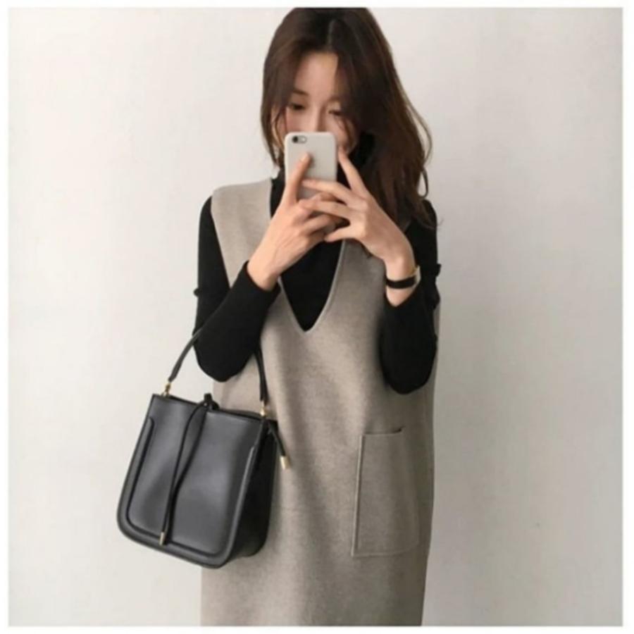 背心裙 【D2655】 韓系 V領 毛呢 口袋 背心裙洋裝 孕婦洋裝 孕婦裝