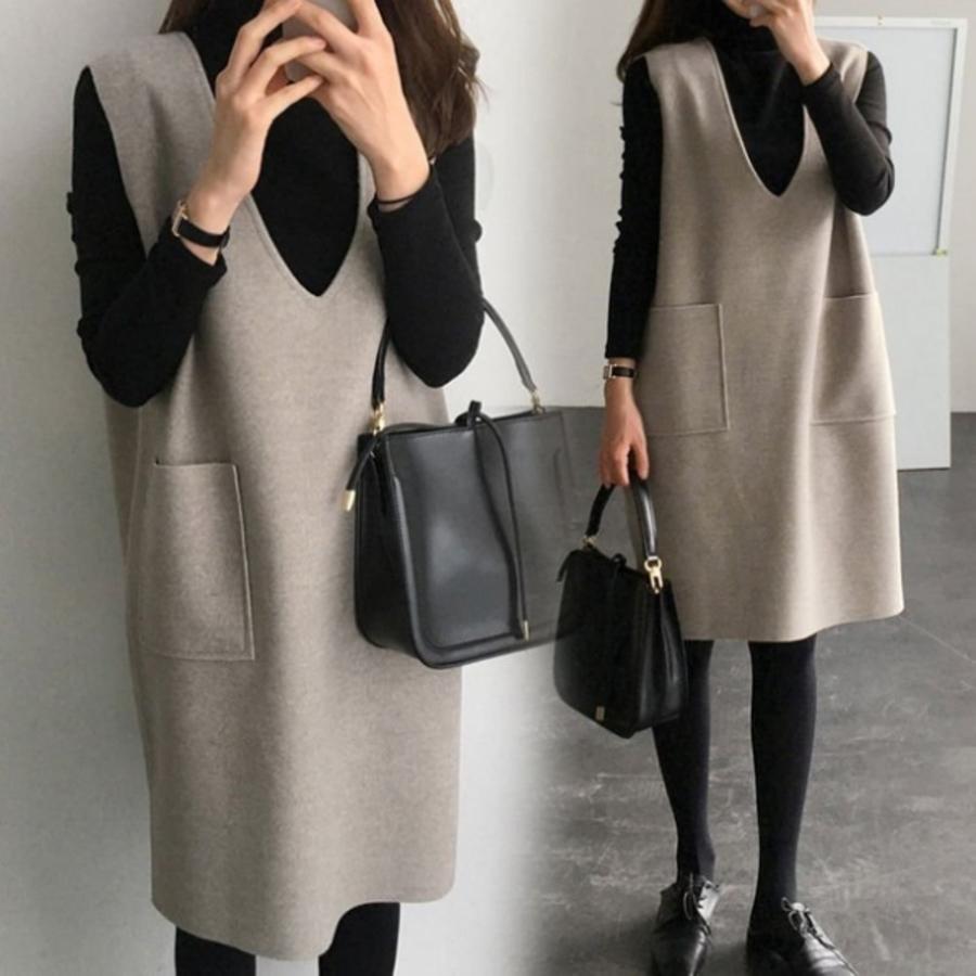 D2655 - 背心裙 【D2655】 韓系 V領 毛呢 口袋 背心裙洋裝 孕婦洋裝 孕婦裝