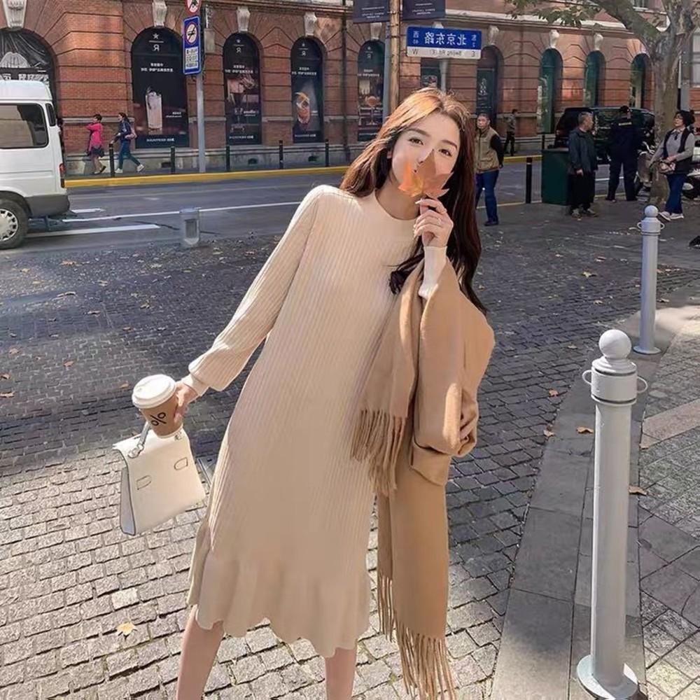 D2719 - 韓系 針織 魚尾洋裝【D2719】修身 長袖 針織裙 毛衣裙 魚尾裙 洋裝