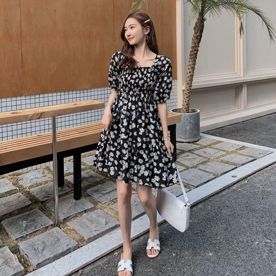 韓系 實拍 雛菊 連衣裙【D2810】 碎花 方領 洋裝 雪紡洋裝 連身裙