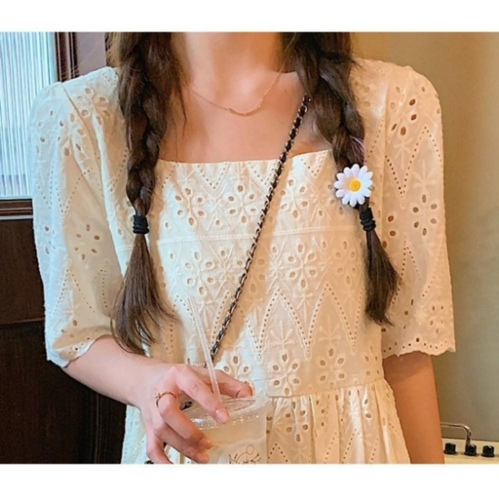 韓系 質感 鏤空 布蕾絲 洋裝 【D2900】 方領 氣質 短袖 小洋裝 孕婦裝