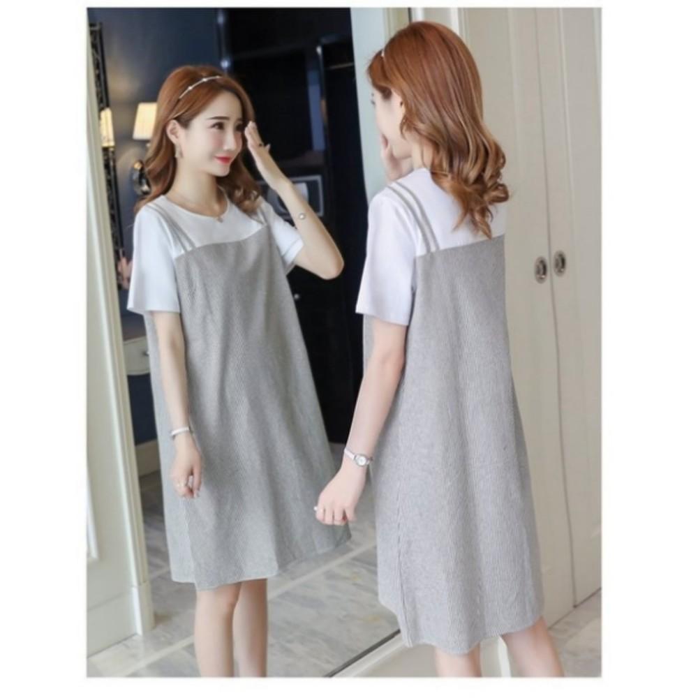 假兩件 條紋 洋裝 【D2912】 短袖 假二件 連衣裙 孕婦洋裝 假吊帶裙 孕婦裝
