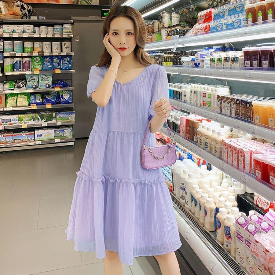 實拍 優雅 坑條 【D2962】百褶 V領 浪漫 洋裝 連身裙 封面照片