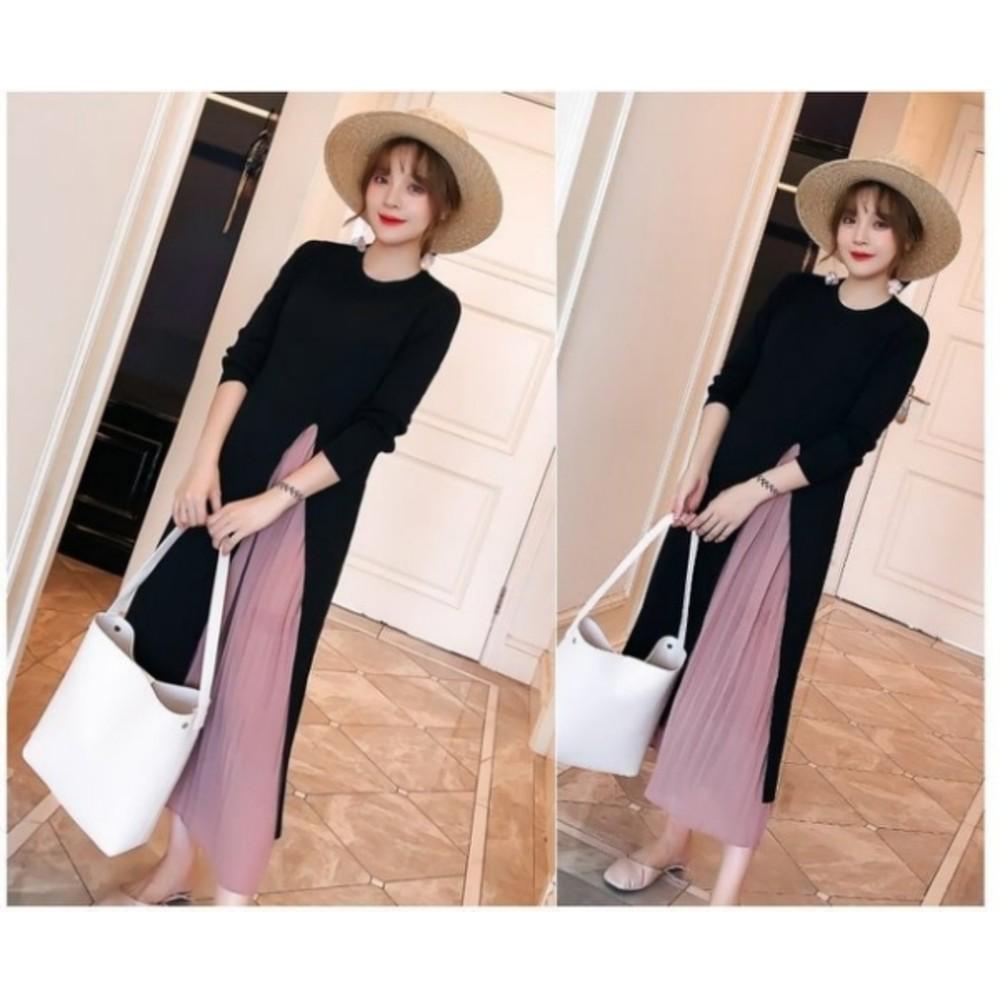 韓國洋裝 【D3056】 名媛 氣質美學 百褶 雪紡 拼接 長袖洋裝 長裙 孕婦裙