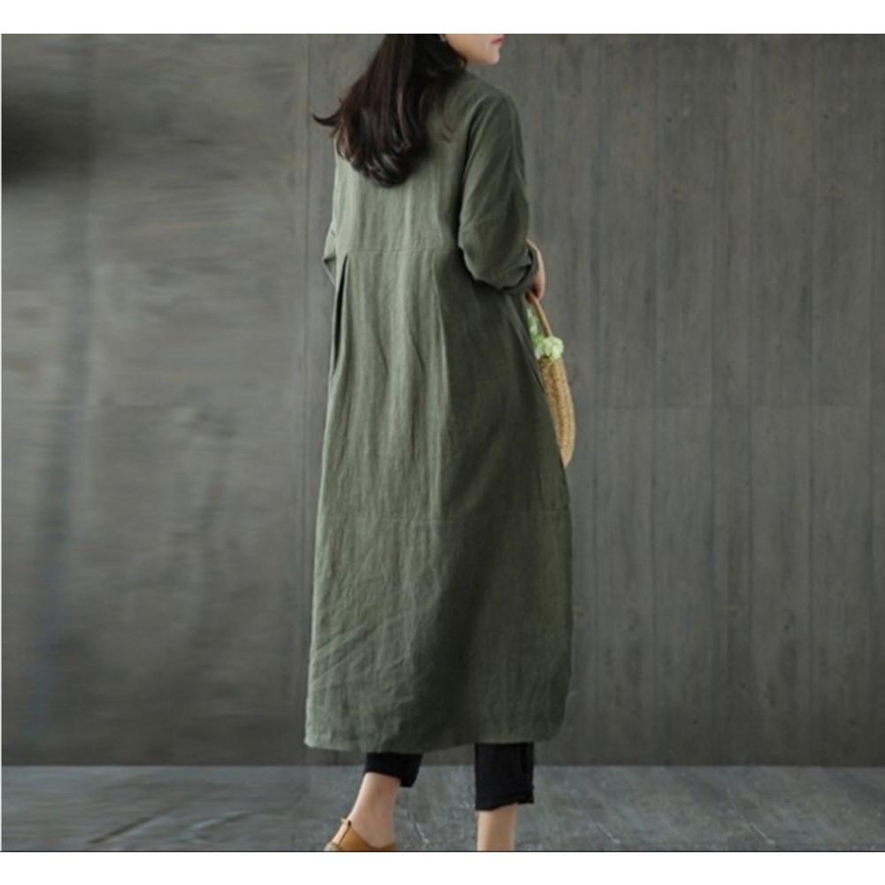 民族風洋裝 【D3100】 連肩袖 大碼 棉麻 不規則 交叉 花苞 長裙洋裝 寬鬆 孕婦裝