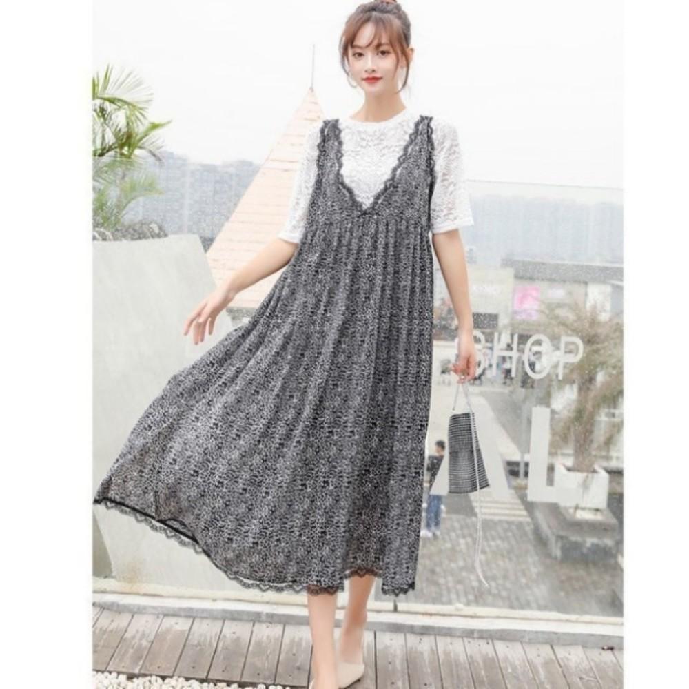 無袖雪紡長裙 【D3136】V領 無袖 蕾絲 雪紡 長裙 長洋裝 孕婦洋裝 波西米亞