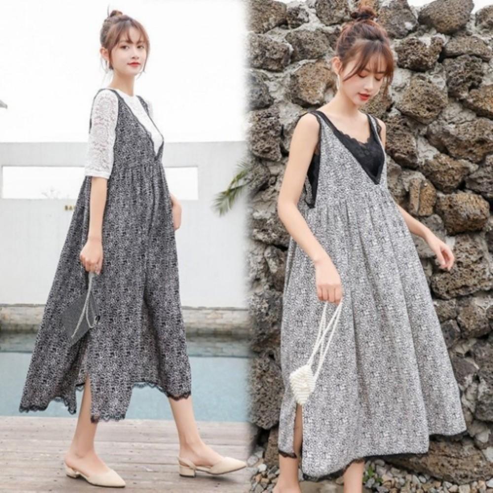 D3136-無袖雪紡長裙 【D3136】V領 無袖 蕾絲 雪紡 長裙 長洋裝 孕婦洋裝 波西米亞