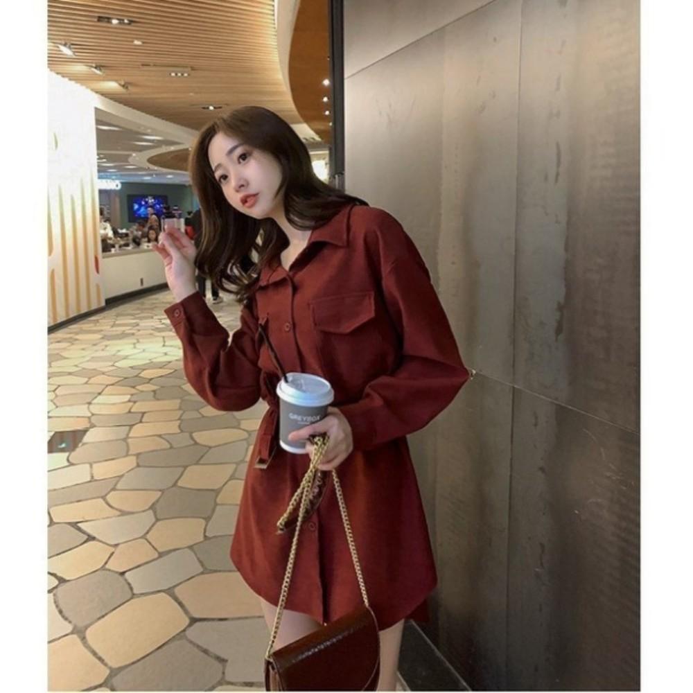 韓系開扣洋裝【D3141】 長袖洋裝 翻領 開釦 修身 收腰 襯衫連衣裙 襯衫洋裝