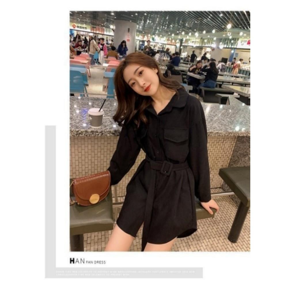 D3141-韓系開扣洋裝【D3141】 長袖洋裝 翻領 開釦 修身 收腰 襯衫連衣裙 襯衫洋裝