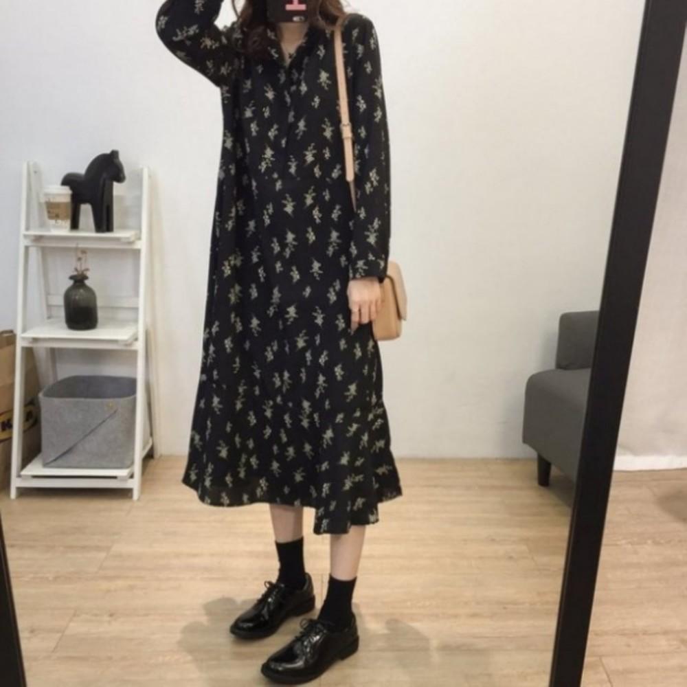 韓洋裝 【D3163】 過膝裙 孕婦裝 長袖 長洋裝 長裙 魚尾裙 針織毛衣