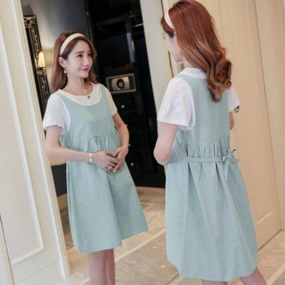 假兩件 洋裝 【D3221】 假二件 背心裙 條紋 短袖 孕婦裝 公主袖 孕婦洋裝
