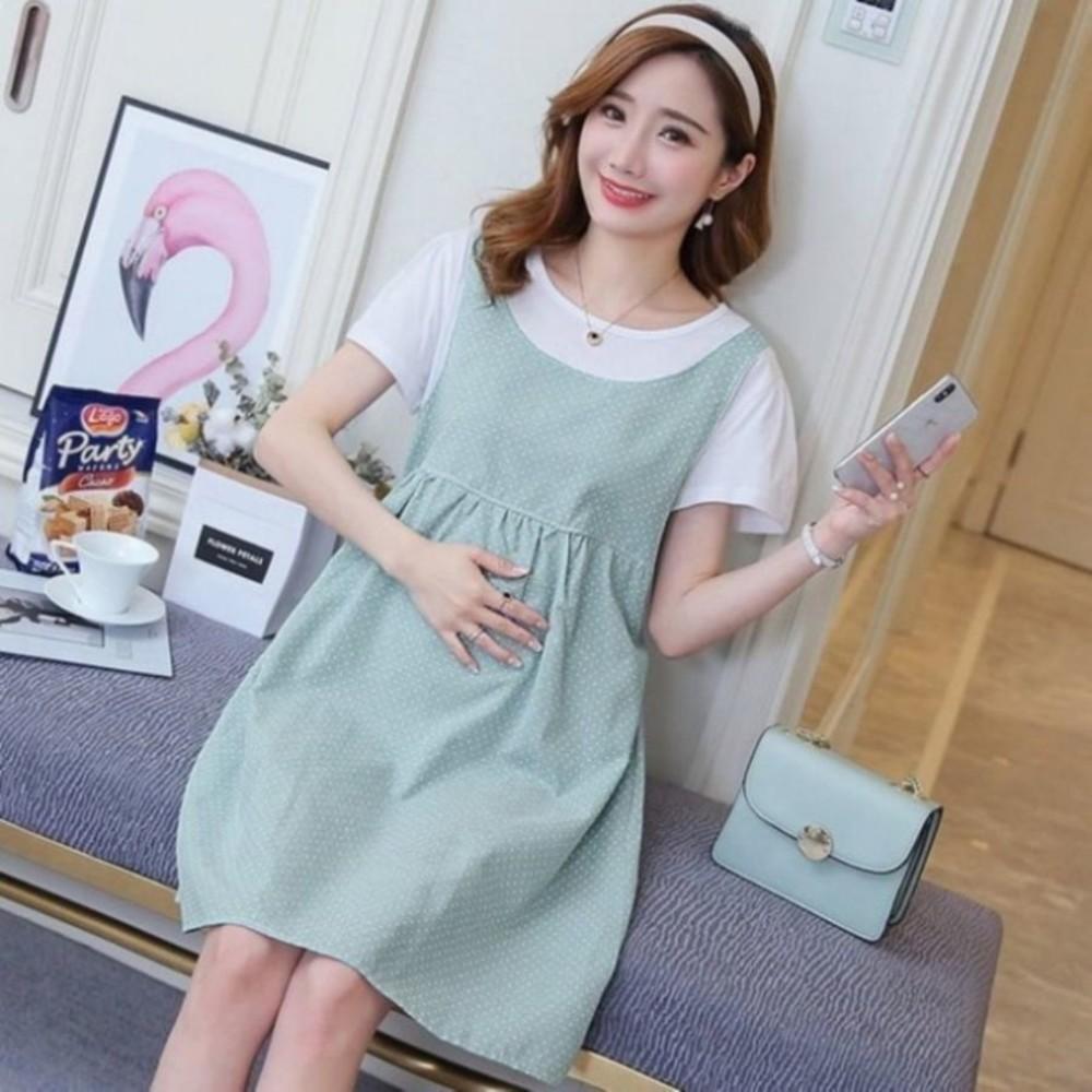 D3221 - 假兩件 洋裝 【D3221】 假二件 背心裙 條紋 短袖 孕婦裝 公主袖 孕婦洋裝
