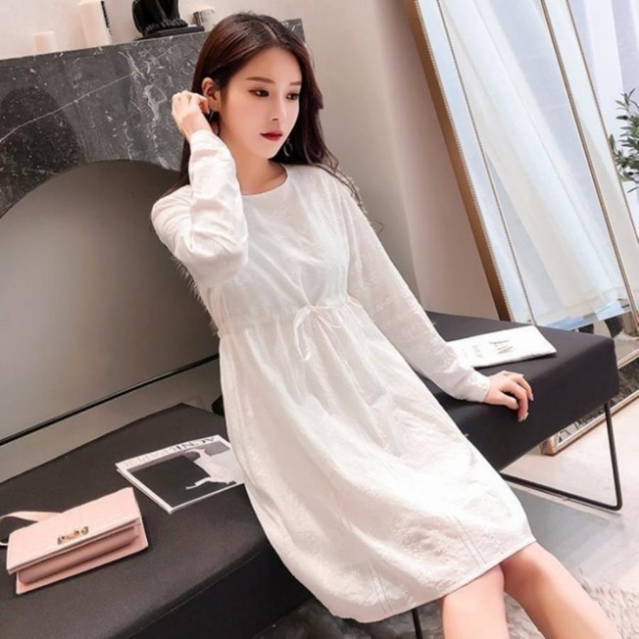 清新 刺繡 洋裝 【D3239】韓系 抽繩 繡花 高質感 長袖 孕婦裝 連身裙 棉麻洋裝