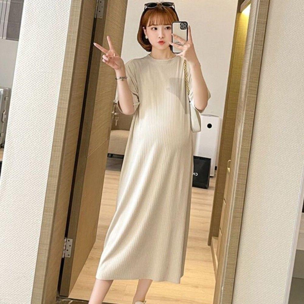 韓系 純色 坑條 針織棉 長裙 【D3271】開叉 修身 長洋裝 連身裙