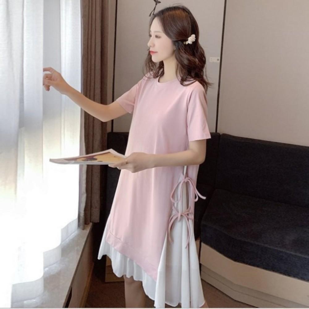 假二件洋裝【D3279】假兩件 雪紡 拼接 短袖 開叉 綁帶 孕婦裝 長版衣 孕婦洋裝