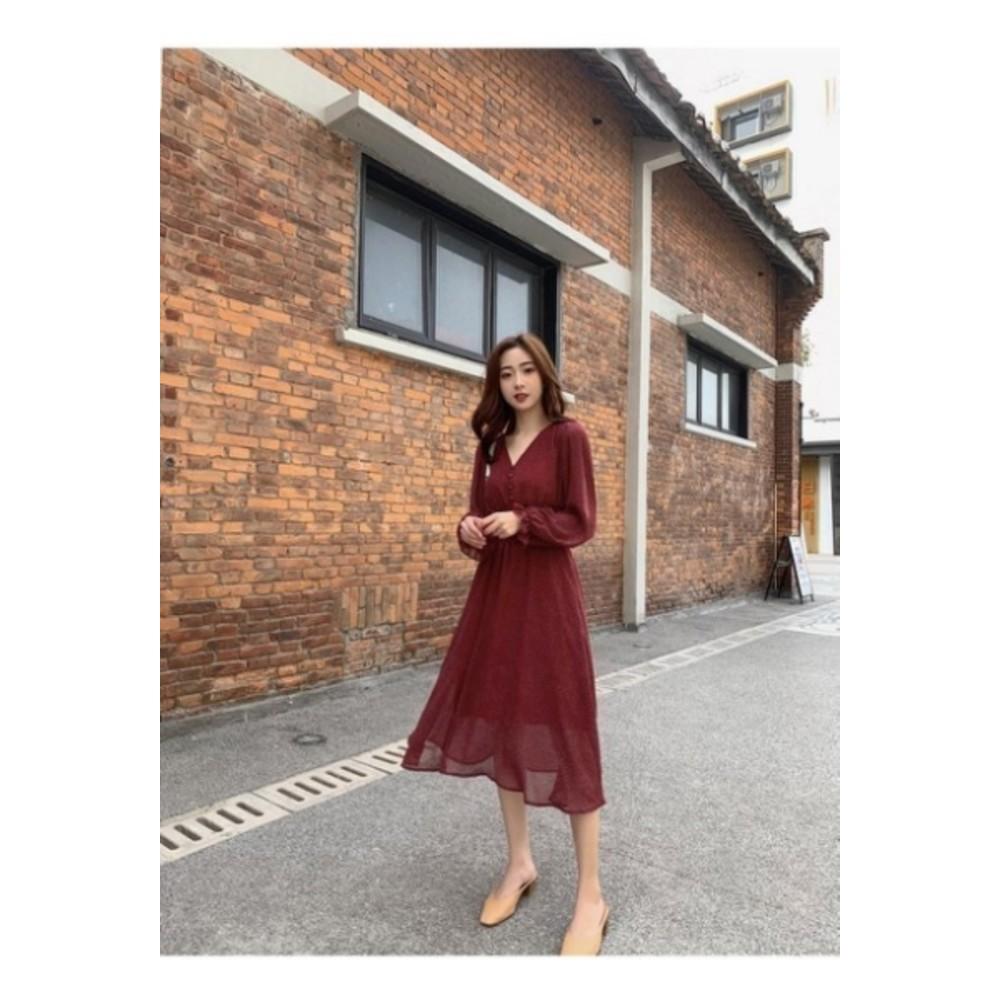 法式V領洋裝【D3312】 波點 長袖 洋裝 韓 收腰 顯瘦 雪紡 長裙 女裝 雪紡洋裝