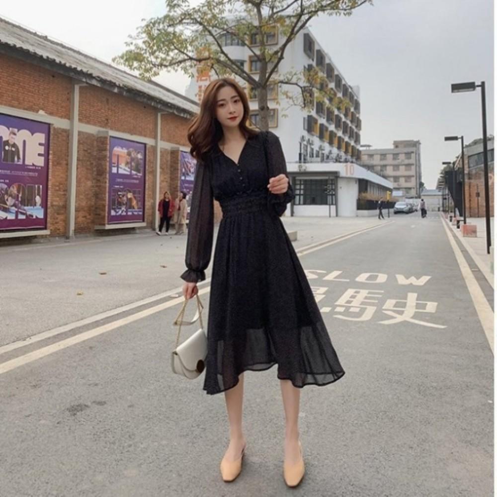 D3312-法式V領洋裝【D3312】 波點 長袖 洋裝 韓 收腰 顯瘦 雪紡 長裙 女裝 雪紡洋裝