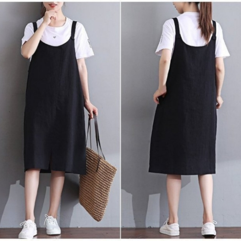 棉麻 洋裝 【D3329】 純色 簡約 細肩 吊帶裙 孕婦裝 背心裙
