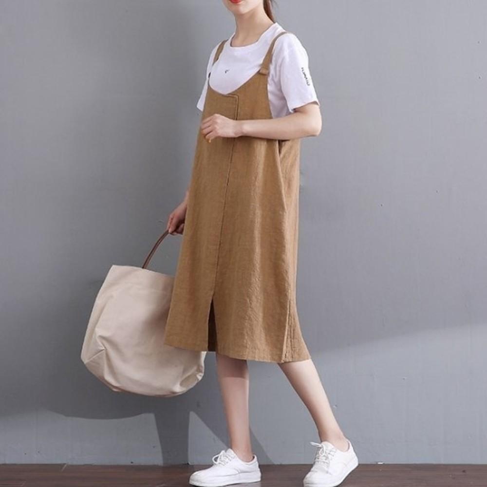 棉麻 洋裝 【D3329】 純色 簡約 細肩 吊帶裙 孕婦裝 背心裙 封面照片