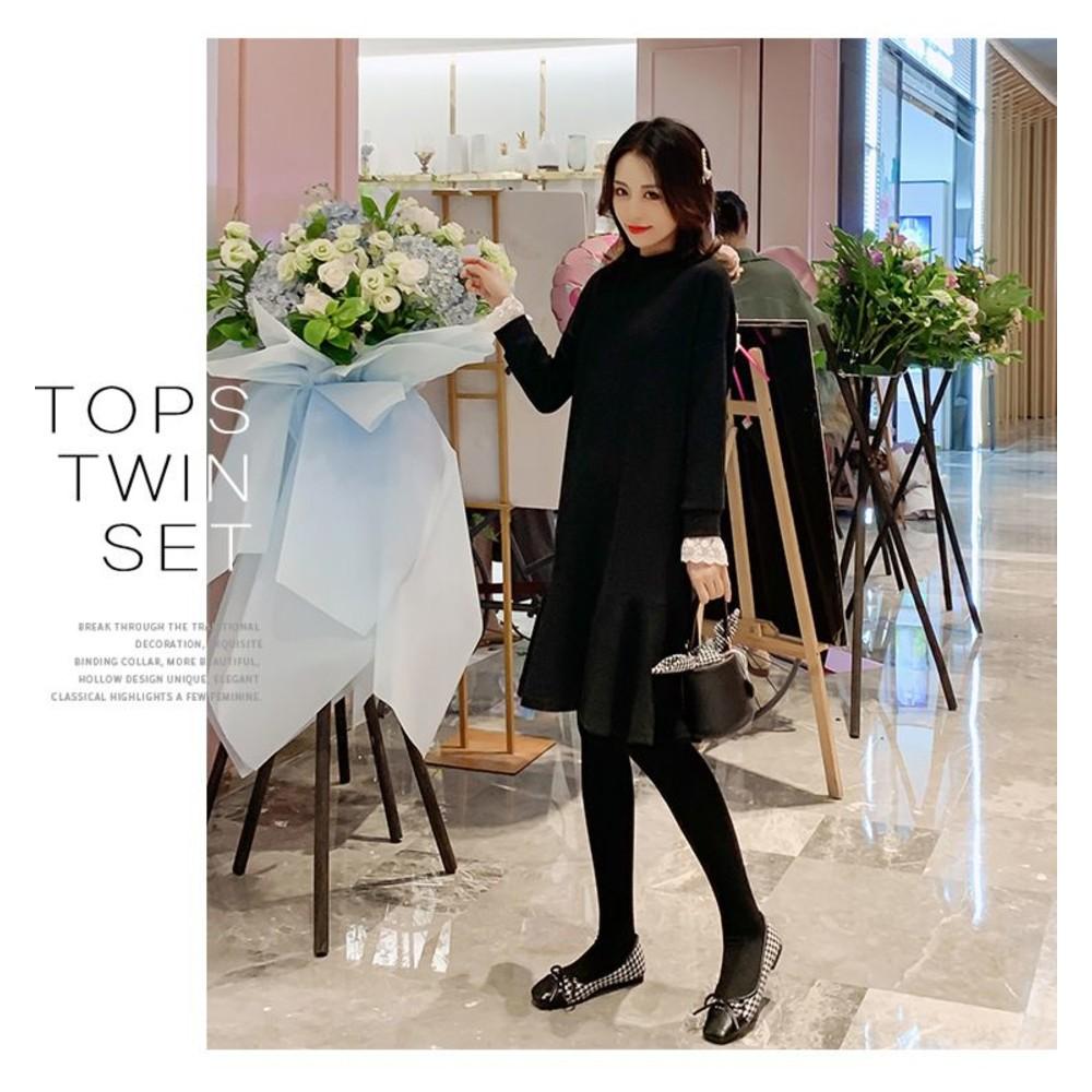 魚尾洋裝【D3340】 韓系 荷葉 純色 長袖 魚尾 洋裝 孕婦裝 魚尾裙