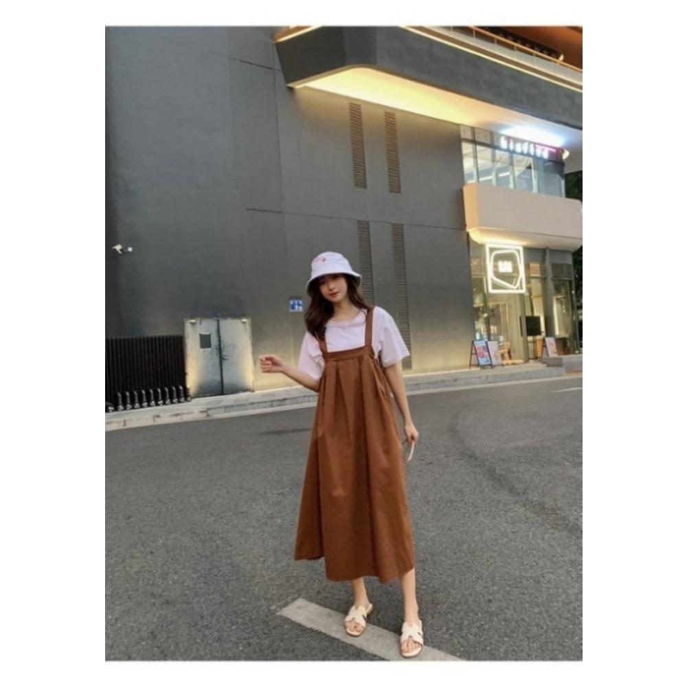韓系吊帶長裙【D3356】 純棉 休閒 吊帶裙 背心裙 韓 背帶裙 連身長裙 女裝