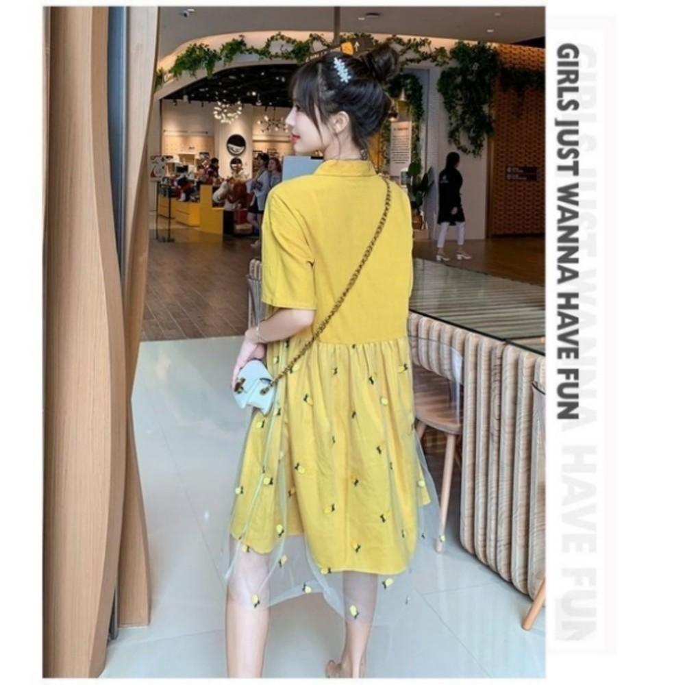 洋裝 【D3637】 詮釋優雅 短袖 刺繡 網紗 翻領 孕婦裝 孕婦洋裝