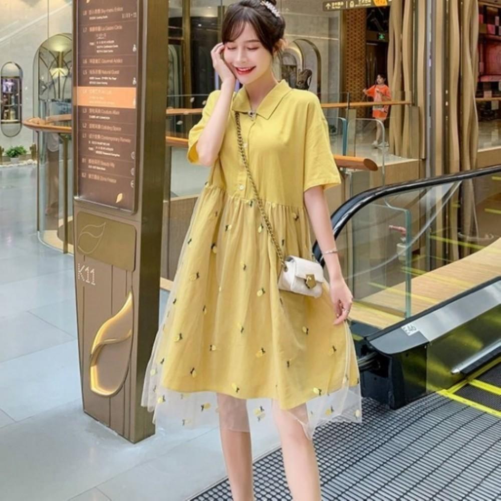 D3637-洋裝 【D3637】 詮釋優雅 短袖 刺繡 網紗 翻領 孕婦裝 孕婦洋裝