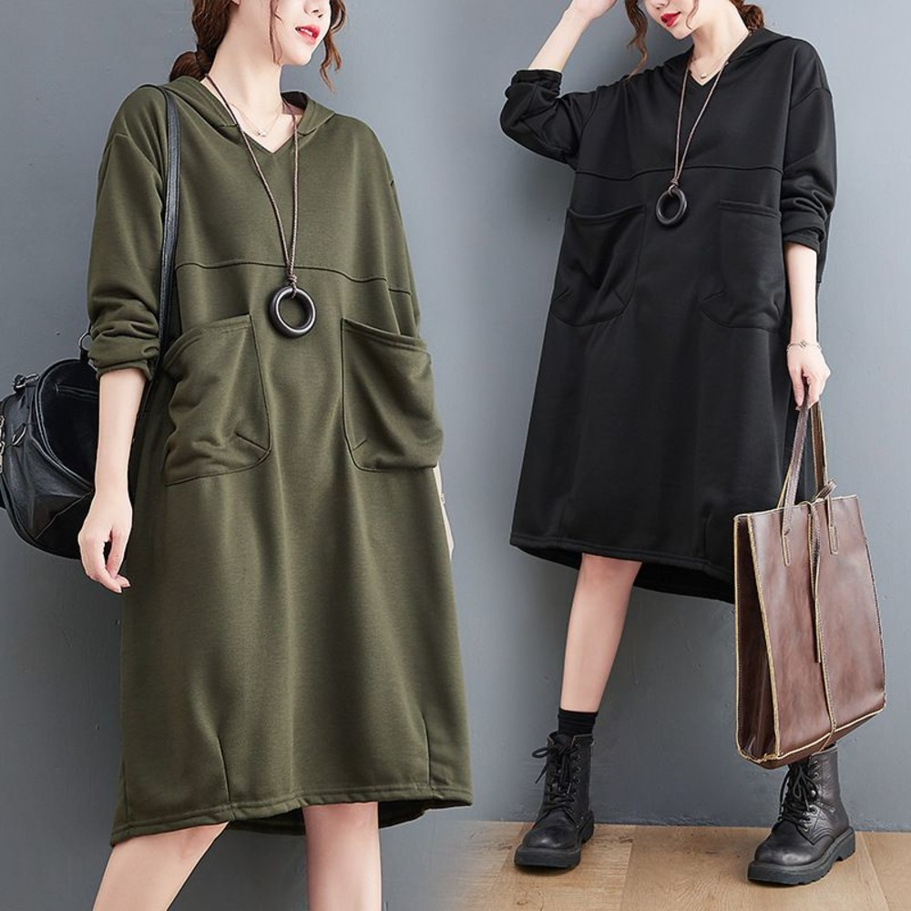 D3690-文藝 實拍 韓系 大口袋 洋裝【D3690】寬鬆 連帽 加大碼 連身裙 長袖洋裝