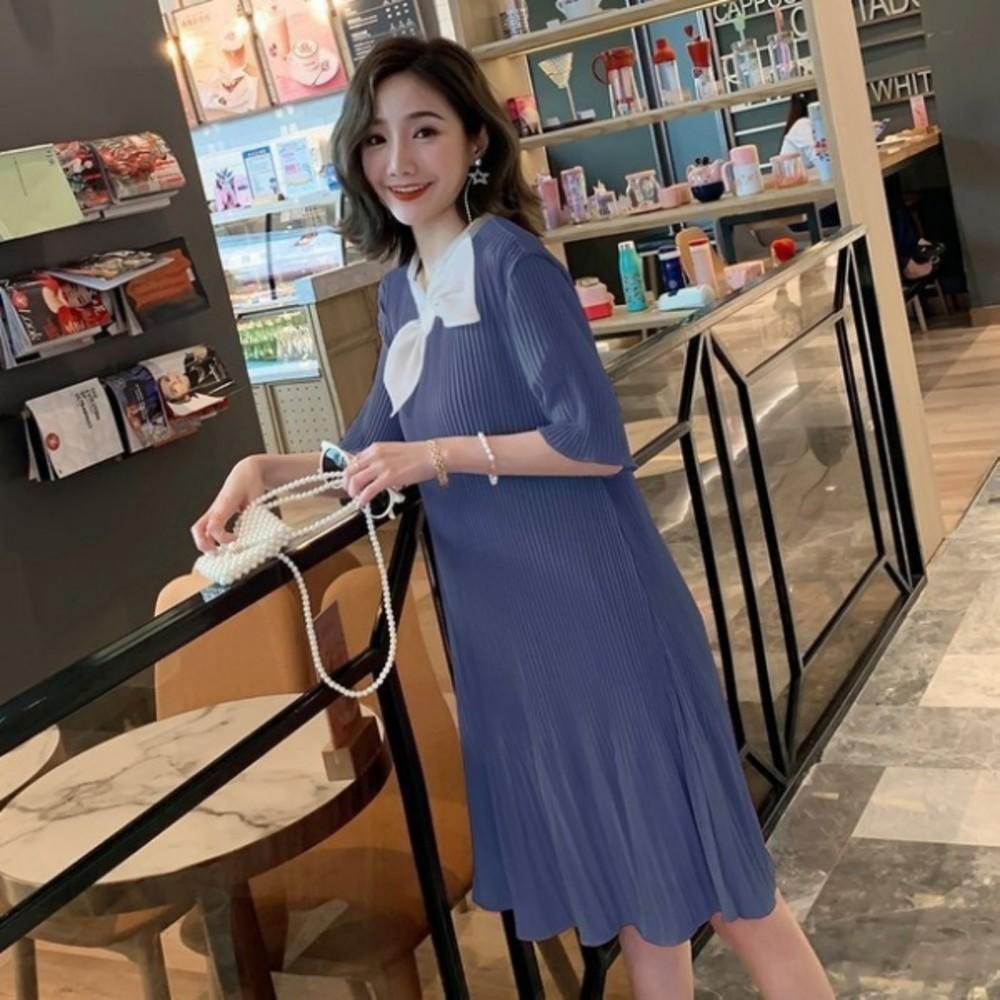 韓系 孕婦洋裝 【D3721】 百褶 蝴蝶結 領結 雪紡裙 短袖 質感 洋裝 孕婦裝