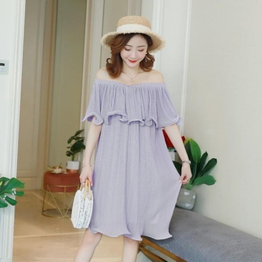 D3737-韓系 質感 洋裝 【D3737】 一字領 露肩 短袖 荷葉 雪紡 褶紋 韓 孕婦裝