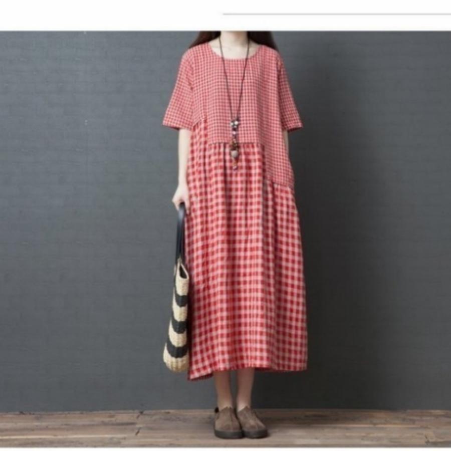 文青洋裝 【D3811】 棉麻 格紋 不規則 拼接 短袖 孕婦裝 孕婦連衣裙 長裙 長洋裝