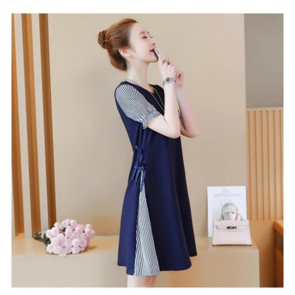 公主袖洋裝 【D3939】 條紋 拼接 公主袖 孕婦裝 短袖洋裝 孕婦裝 包袖