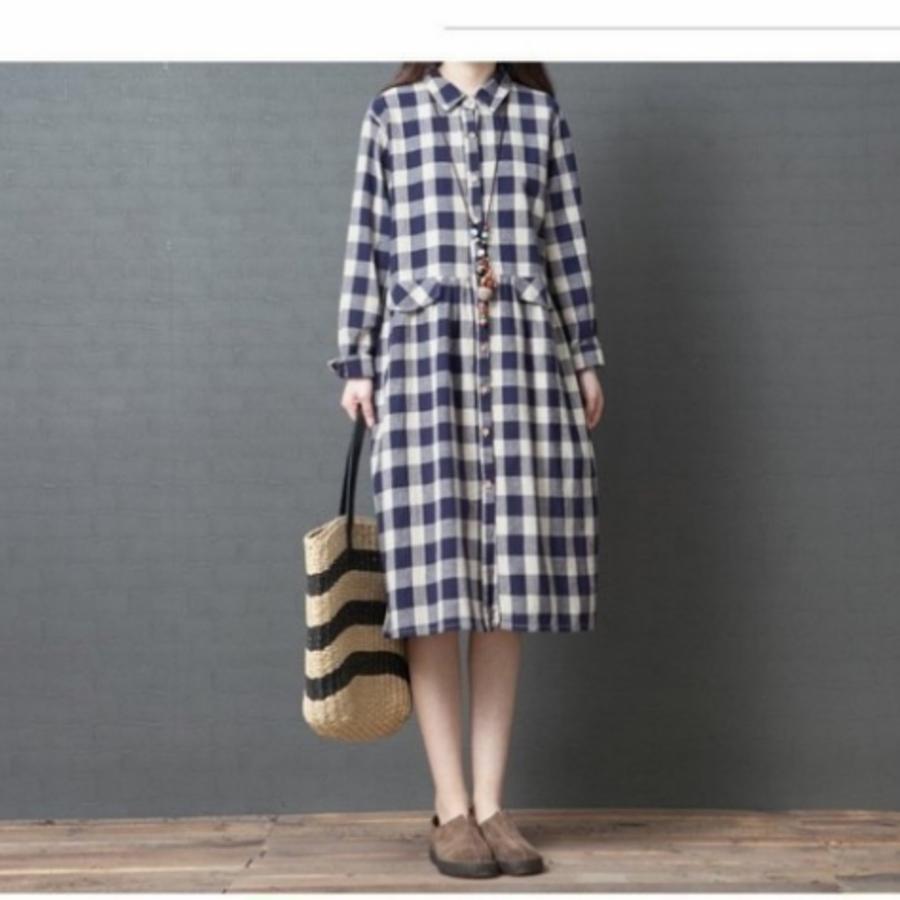 開襟 洋裝【D4138】格紋 開扣 翻領 文藝 長袖 寬鬆 洋裝 格子 長裙 棉麻 孕婦裝